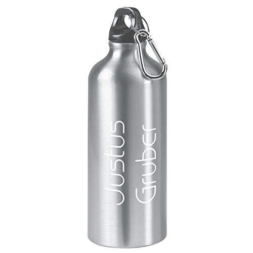 te 600ml Trinkflasche mit Namen aus Edelstahl Inkl. LASERGRAVUR Sportflasche mit Dichtem Schraubverschluss (Silber, 0,6l) ()