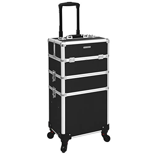 SONGMICS Trolley make up Kosmetikkoffer Aluminium Friseurkoffer XXL Größe Schminkkoffer leer Hartschale für Gepäck 4 in 1 Multikoffer (schwarz) JHZ01B