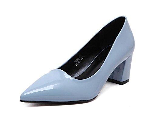 LDMB Spitzes Zehe-flacher Mund der Frauen mit einzelnen Schuhen dick mit Absatz-Schuhen Light Blue