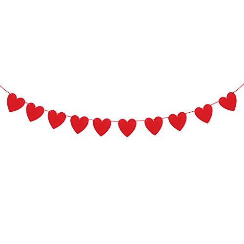 (Bestoyard Girlande mit roten Papierherzen, für Hochzeit, Valentinstag, Verlobungsfeier, Wimpelkette)