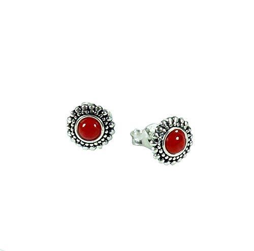 Pendientes Indios joyas Red Resin redondo plata de ley 925