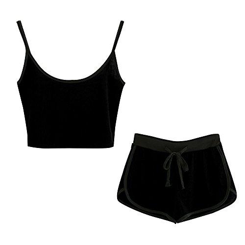 Zweiteiler Damen Sommer, Ulanda Frauen Teenager 2 Teile Sport Set Trainingsanzug Yoga Outdoor Beiläufig Jogging Sportkleidung Crop Tops Bauchfrei mit Sport Kurze Hose (Schwarz A, S)