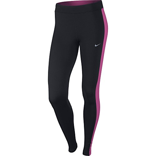 NIKE Damen Dry Fit Essential Tights Hose Black/Hot Pink/Reflective Silv
