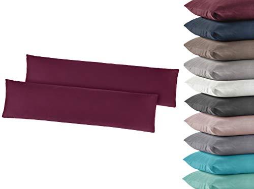 2er Pack Jersey Kissenbezug Kissenhülle Kissenbezüge Seitenschläferkissen 40x145 cm 100% Baumwolle Anthrazit