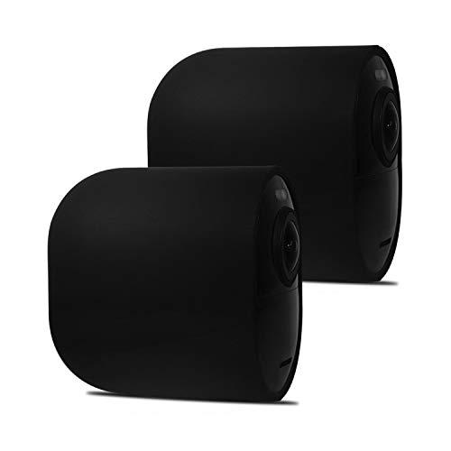 BECEMURU Arlo Ultra Silikon Skins Sicherheitslicht Schützen und Camouflage Cam mit UV-Licht und Wetter beständig Silikon Skins für Arlo Ultra Kamera (Schwarz, 2 Pack) -