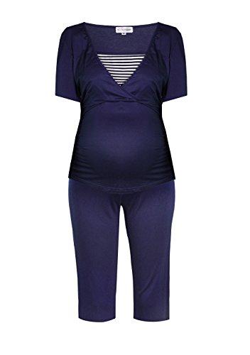 Kurzer Stillpyjama-Umstandspyjama-Schlafanzug für Schwangerschaft und Stillzeit, aus Viskose-Jersey, in Rosa, Blau, Grau von HERZMUTTER (2500) (L, Blau/Weiß)