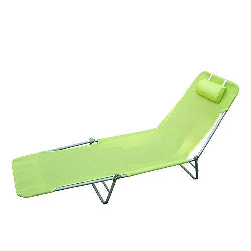 Homcom Sonnenliege Gartenliege Relaxliege Bäderliege Zweibeinliege, grün, 182x56x24.5 cm, 01-0335