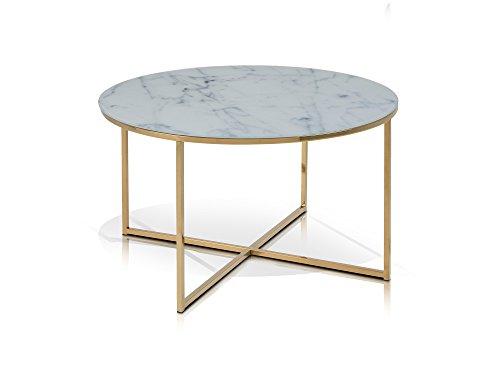 moebel-eins AMINDA Metalltisch Couchtisch Wohnzimmertisch Tisch Sofatisch Beistelltisch Kaffeetisch Glasplatte mit Marmorprint/Gold