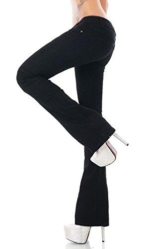 Modische Damen Stretch Bootcut Jeans Schlag Hose in schwarz Größe 40 Damen Bootcut-hose