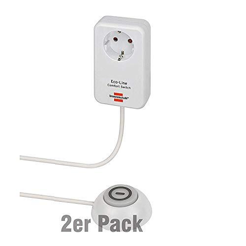 Brennenstuhl Eco Line Comfort Switch Adapter EL CSA 1 (Steckdose mit beleuchtetem Hand-/Fußschalter, mit Kinderschutz, 1,5m Kabel) 2 Stück