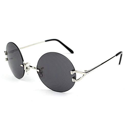 LKVNHP Neue Hochwertige Retro Runde Sonnenbrille Männer Sonnenbrille Rahmen Für Frauen Hochwertige Trendy Shades Oculos De Sol Carter BrilleSchwarze Linse