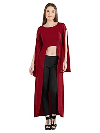 pinwheel Women's Maroon Slit Sleeve Polyester High Low Party Maxi Top