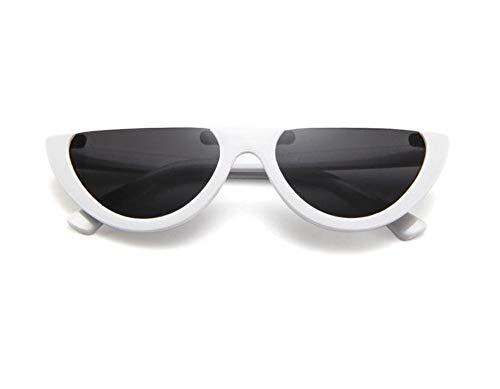 Sonnenbrille,Cool Trendige Hälfte Frame Sonnenbrille Cat Eye Sonnenbrille Frauen Sonnenbrille Weißen Rahmen Streuscheibe,Schwarz