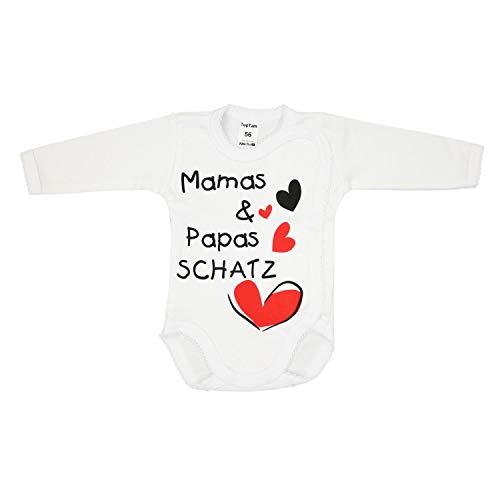 TupTam Unisex Baby Wickelbody Spruch - Mamas & Papas Schatz, Farbe: Weiß - Mamas Papas Schatz, Größe: 62