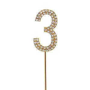 Gifts 4 All Occasions Limited SHATCHI-789 - Decoración para tarta (número 3, brillante), diseño de diamantes, color dorado