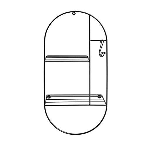 BinLZ Wandregale Lagerregal im Nordischen Stil Dekoratives Lagerregal aus Schmiedeeisen aus Metall Schlafzimmer Wohnzimmer Küche Duschbad Wandregal/Regalregal, Schwarz, 30x14x60cm -
