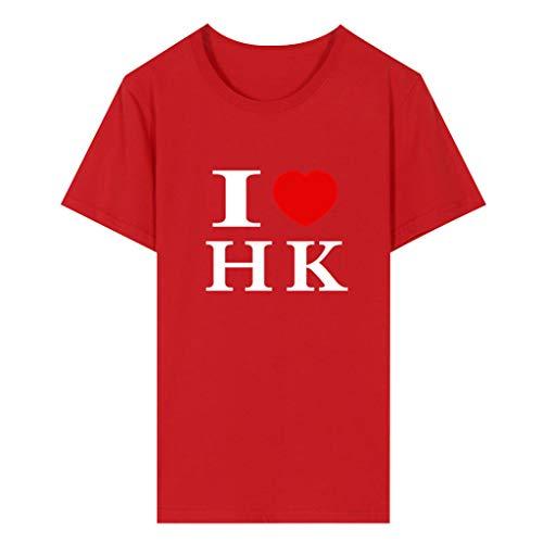 Fenverk Paar Frau Herren Lustige Ethnische Gedruckte Stehkragen Kurzarm Lose Henley Shirts (rot,M)