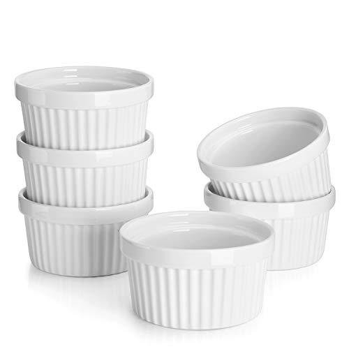 Sweese 501.001 6er Set Soufflé Förmchen, 180 ml, Creme Brulee Formen aus Porzellan, Förmchen für Fondants, Muffins Form Porzellan