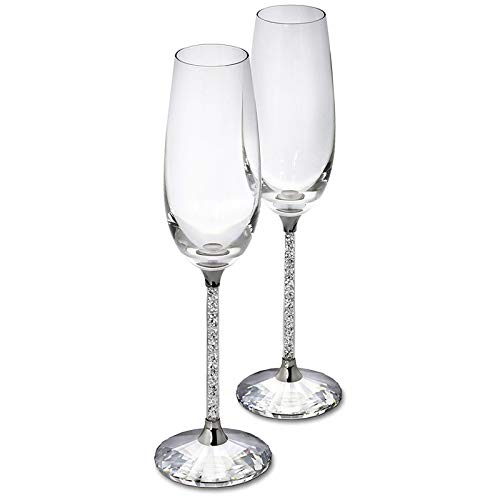 er Flöten Weinglas Kristall Luxus Hochzeit Party Toasten Gläser Becher Kristall Strass Design ()