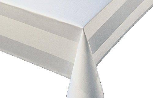 Tovaglia damascata, bianco con bordo atlas lavabile a 95°c-misura a scelta, 100% cotone, bianco, 130 x 280 cm