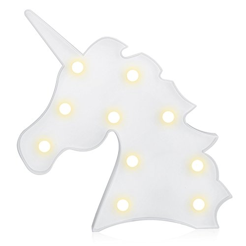 Decoración Iluminación, Diealles Lámpara de Mesa de luz LED para Niños Decoración de Dormitorio Luz de Escritorio - Unicornio Blanco
