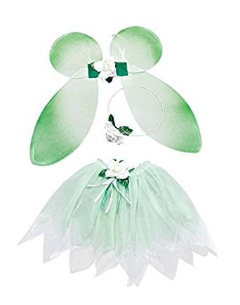 Childrens Green Fairy Set Wings Tutu Tinkerbell Magical Princess Fancy Dress by Home & Leisure Online