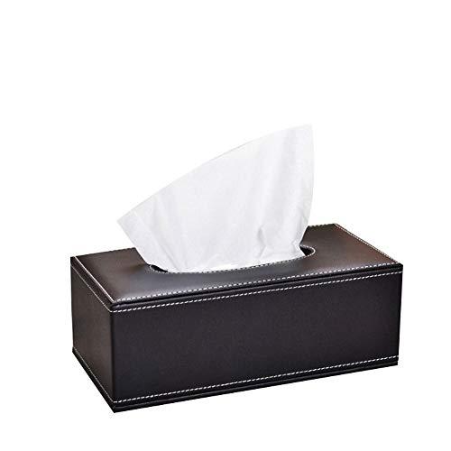 Leder-wohnzimmer-tisch (WH-ZJH Tissue Box Schwarzes Leder Schreibtisch Tissue Box Startseite Wohnzimmer Tisch Tissue Box Gitter (Size : 25.5x14x9.5cm))