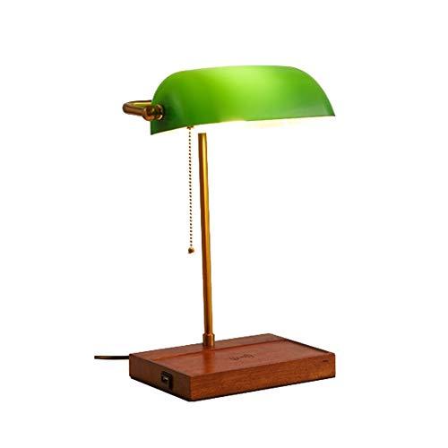 Beleuchtung, Nachttischlampe LED-Schreibtischlampe for kabelloses Aufladen, Bankerlampe for kabelloses Aufladen, Smaragdgrünes Glas Einstellbarer Lampenschirm (Winkel), Lampengehäuse in Kupferfarbe (h