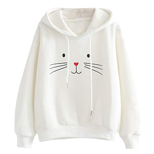 men,Women Kapuzenpullover Herbst Long Sleeved Cat Print Hooded Sweatshirt-Blouse Tops T Shirt ()