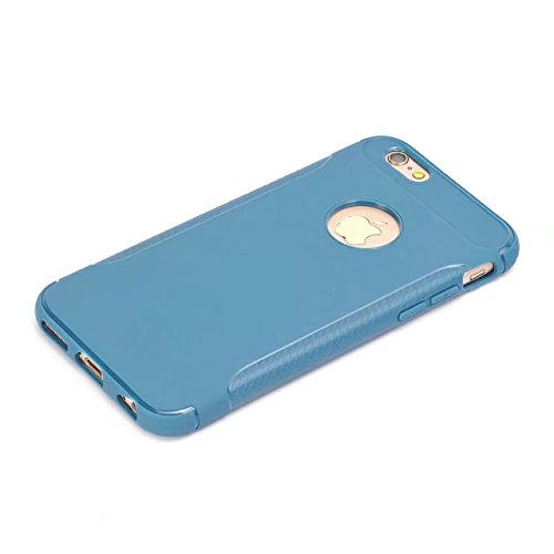 Best Choise Flip Case per iPhone 6 Plus e 6S Plus Ultra Slim in fibra di carbonio Case antiurto copertura posteriore 360 ° FULL BODY Custodia Protezione TPU Cover Shell ottima qualità Skyblue