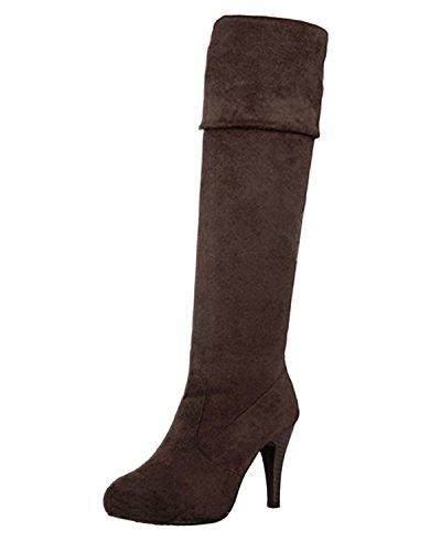 Minetome Mode Frauen Overknee über Knie Stretchy Schuhe High Heel Stiefel( Braun EU 38 ) (Heel-plattform Stiefel)