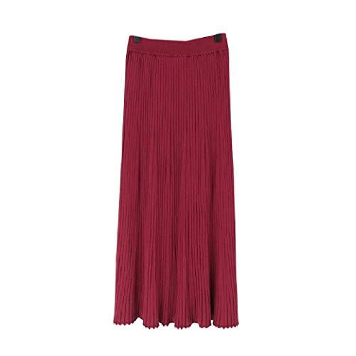 VITryst Womens High-Waisted Fall Winter Fall Winter Skinny Knitting Skirt Red XL