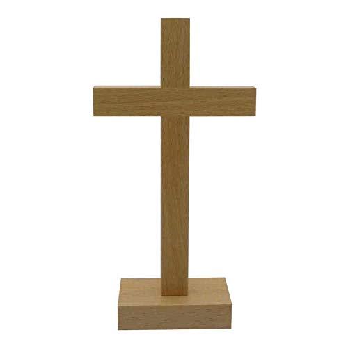 kruzifix24 Stehkreuz Standkreuz Buchenholz Natur ohne Körper 20,5 x 10,5 cm Altarkreuz für Zuhause Pflegeheim Unterwegs - Sterbekreuz für Hospitz Handarbeit