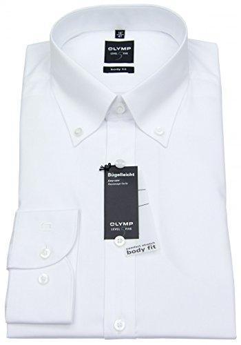 OLYMP Herren Hemd Level Five Body Fit Langarm B.D. 42 Weiß