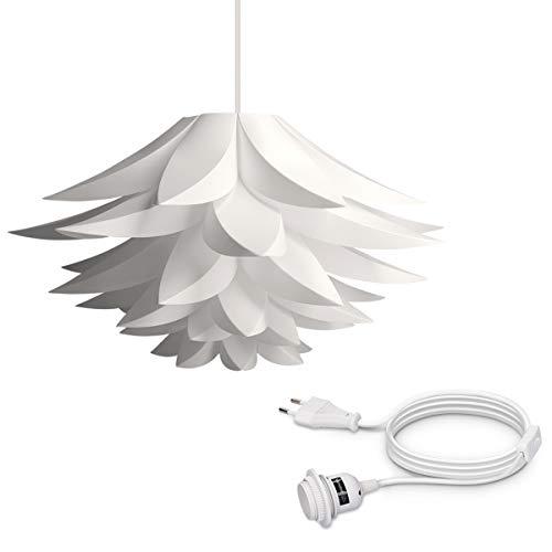 Schlafzimmer Euro-schlafzimmer-set (kwmobile DIY Puzzle Lampe Lampenschirm - Lotus Schirm Set mit 3,5m Eurostecker Kabel Schalter E27 Fassung - Stehlampe Puzzlelampe Deckenleuchte weiß)