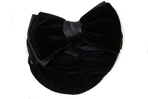 Mytoptrendz® Womens Lady Black Double Bow Snood Net Bun Cover Barrette Hair Clip Black Satin and Velvet Bow