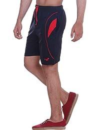 VEGO Men's Cotton Shorts (HS-4040-NAVY-RED)