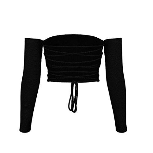 Damen Kurz Tops Hirolan Bekleidung Frau Beiläufig Schulterfrei Weste Bluse Langarm Crop Tops Bralette Schlank Hemdbluse Bodycon T-Shirt Ernte-Oberseiten-hohles Sommer Trägerlos (S, Schwarz) (Ernte-pyjama-hose)