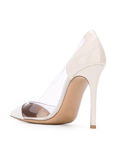 Kolnoo 10CM Damenschuhe Pumps Bequeme Lack Stilettos Transparent Schuhe Weiß