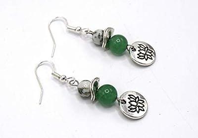 ETHNICFEATHER -Boucles d'oreilles aventurine fleur de lotus, bijoux yoga, zen, bouddhiste, bijoux ethniques, cadeau femme, bijoux fleur