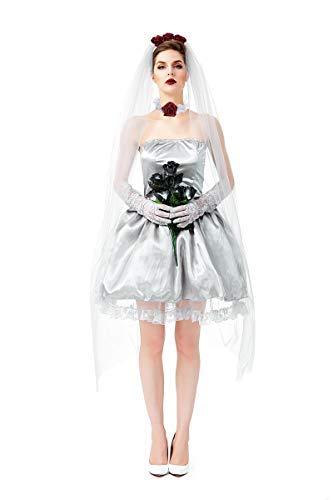 Fanessy Kinder Mädchen Geisterbraut Kostüm für Damen Halloween Geister Prinzessin Kostüme mit Hut Eltern Kind Kostüm Erwachsene Kinder Verkleidung Cosplay Outfit für Fasching Halloween Karneval Party