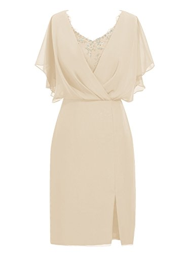 Dresstells, robe de mère de mariée longueur au genou, robe courte de demoidelle d'honneur Champagne