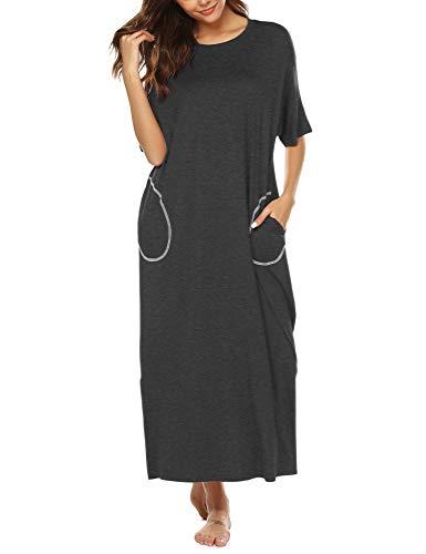 BESDEL Cotton Knit Short Sleeve Nachthemd für Frauen Ganzkörperansicht Schlafkleid mit Taschen Dunkelgrau XXL