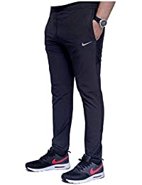 DELHITRADERSS® Men's Cotton Track Pants,Joggers, Night Wear Pajama,Sports Gym,Lower with Zip Pockets nke Black (Size-L)