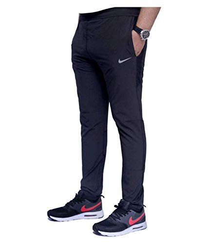 EASY4BUY® Men's Cotton Track Pants,Joggers, Night Wear Pajama,Sports Gym,Lower with Zip Pockets nke Black (Size-M)