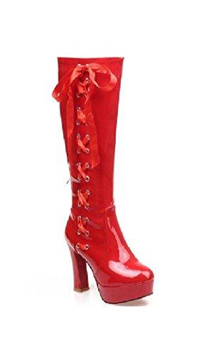 Femmes Talons Hauts à Long Tube ImperméAble PU Bottes De Mode red