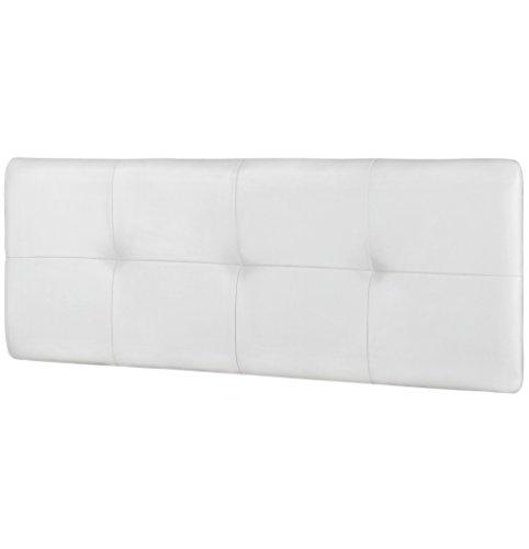 Studio Decor Deva - Cabecero de cama de matrimonio tapizado en polipiel, 160 x 50 x 3,5 cm, color blanco