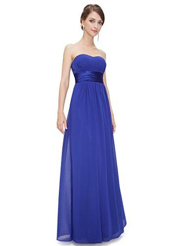 Ever Pretty Robe de soir¨¦e longue sans manche en ruche 09955 Bleu Saphir