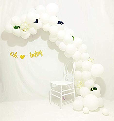 Ballon Garland Arch Kit 16Ft Lange Gender Neutral Weißgold Ballons Oh Baby Banner Dekorationen für Party Mittelstück Hintergrund Hintergrund ()