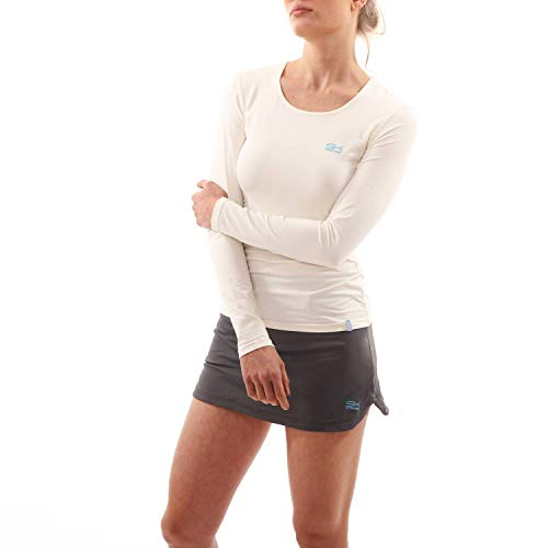 Sportkind Mädchen & Damen Tennis/Running/Fitness Langarmshirt, Creme, Gr. 134